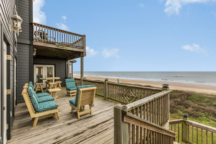 Oceanfront home w/fireplace, multiple balconies, amazing beach views-dogs ok!
