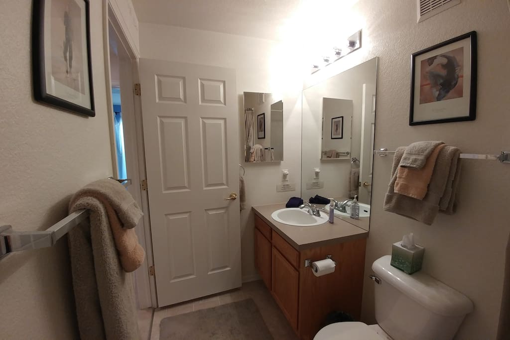 """Colorado"" Room Private Bath vanity, bath & shower."