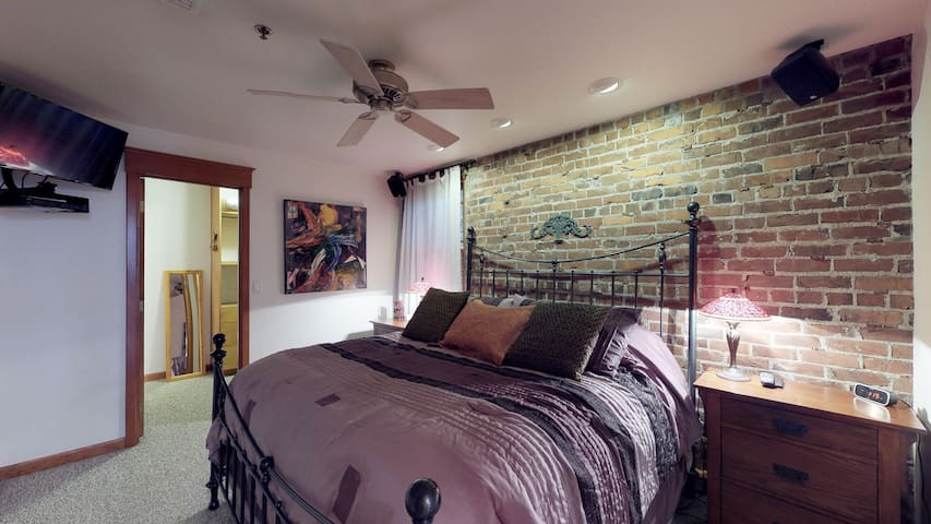 Bedroom with King size bed and TV