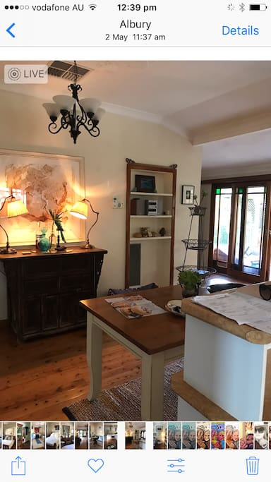 Kitchen and dining area. Welcome to use tea and coffee and breakfast requirements all for your use . Some meals provided too
