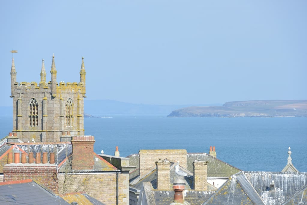 View across St Ives bay from master bedroom