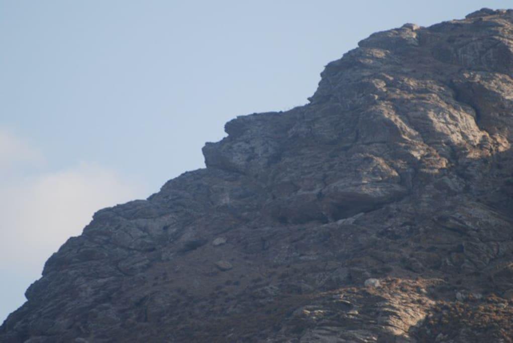 το βουνό πάνω απότο λιμάνι των Καταπόλων. Διακρίνεται το προφίλ ενός γέροντα που κοιμάται. Πίσω από το σημείο αυτό σε ανασκαφές έχουν βρεθεί τα καλοκαιρινά θέρετρα του βασιλειά Μίνωα.- the mountain above the port of Katapola. It is visible the profile of an old man which sleeps. Behind this point in excavations they have revealed the summer resorts of Basel Minos.
