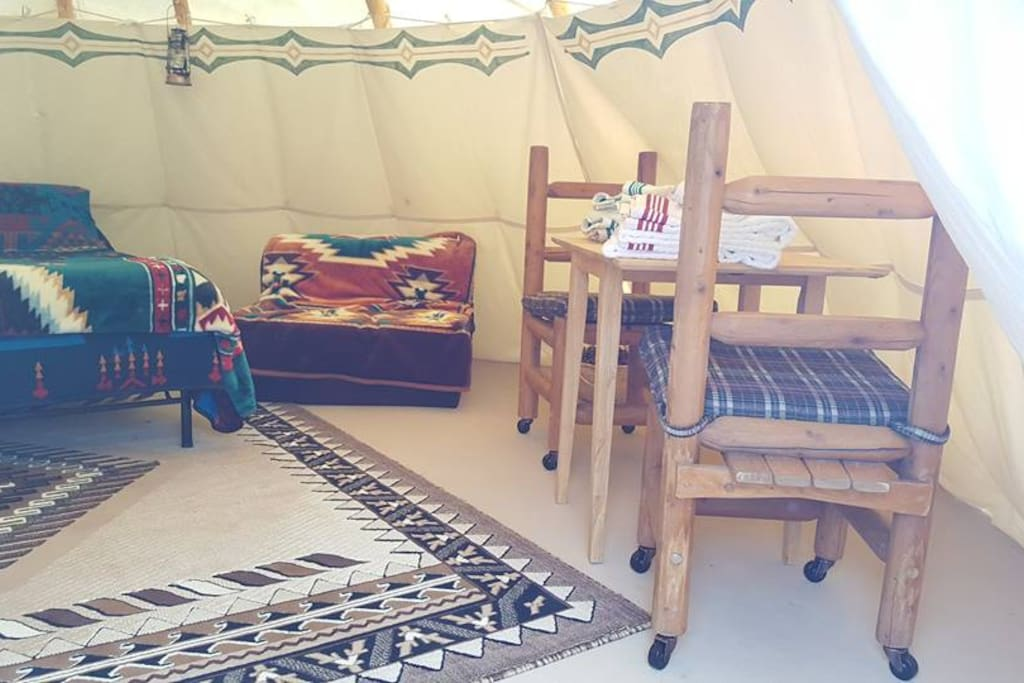 The inside of one of our Tipis.