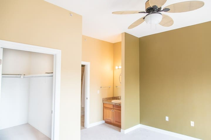 Large master bedroom with large walk in closet, shower/bathroom and sink separate from shower/bathroom