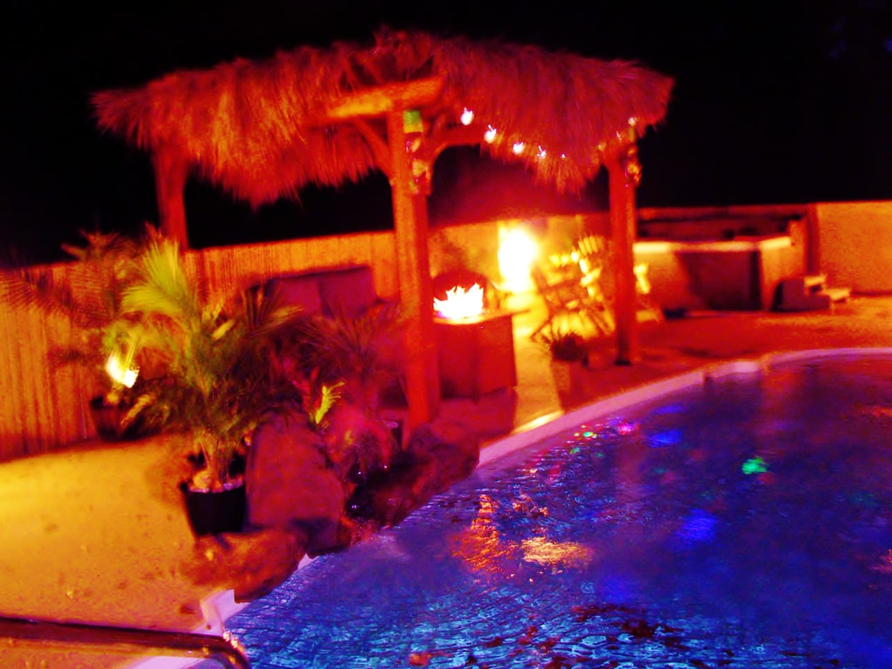Tiki Pool, Waterfall, Blue Spa, Fire Pit, Sound System, Gas Grill, Volleyball-