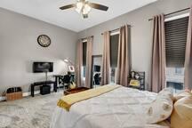 Bedroom 1: Closet has extra pillows and hangers; door to bedroom locks