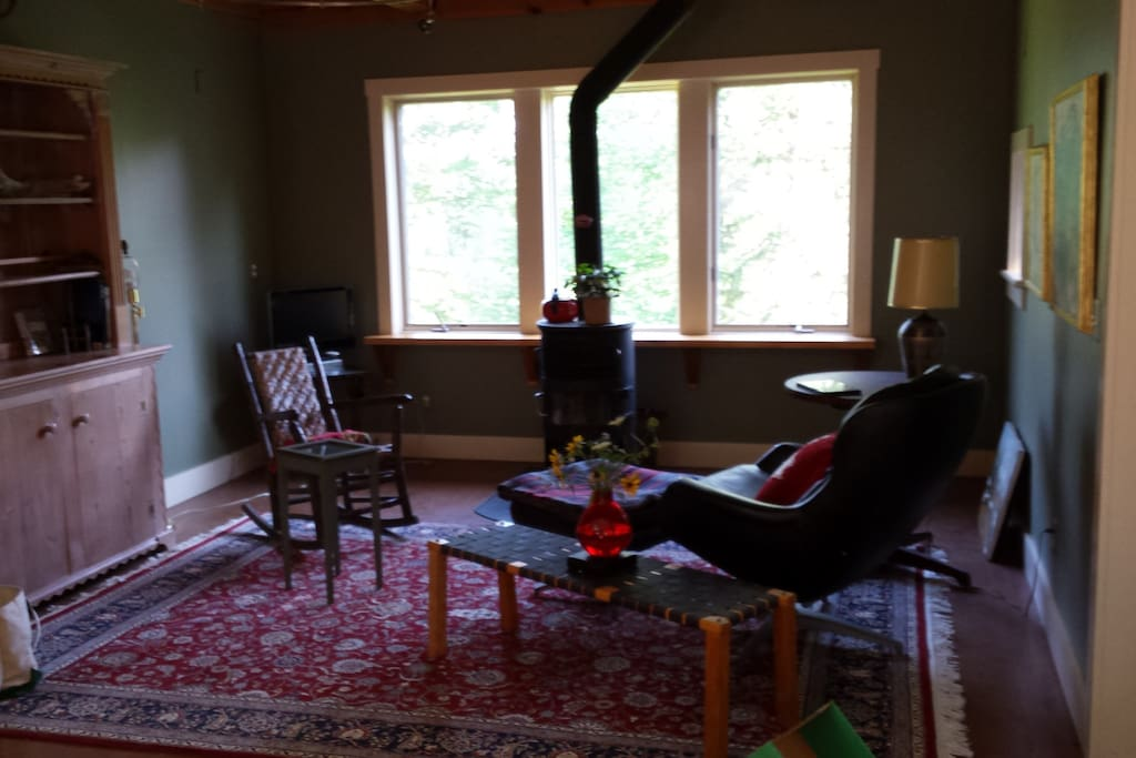 Wood stove, cozy furnishings, not a curtain in the place!