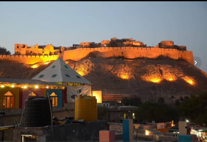 Fort view in old city Jaisalmer . (Family feel)