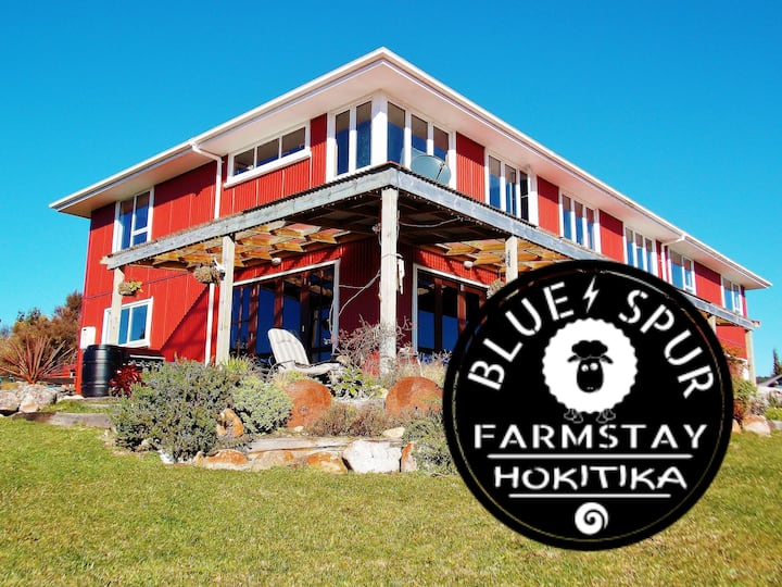 BLUE SPUR FARMSTAY Eco-home Feed the sheep