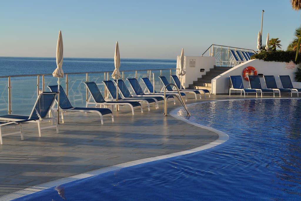 Beach pool with restaurant