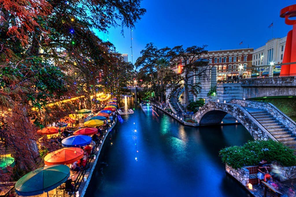 The gorgeous and historical San Antonio Riverwalk and Pearl Brewery Center located just 4 blocks from us.