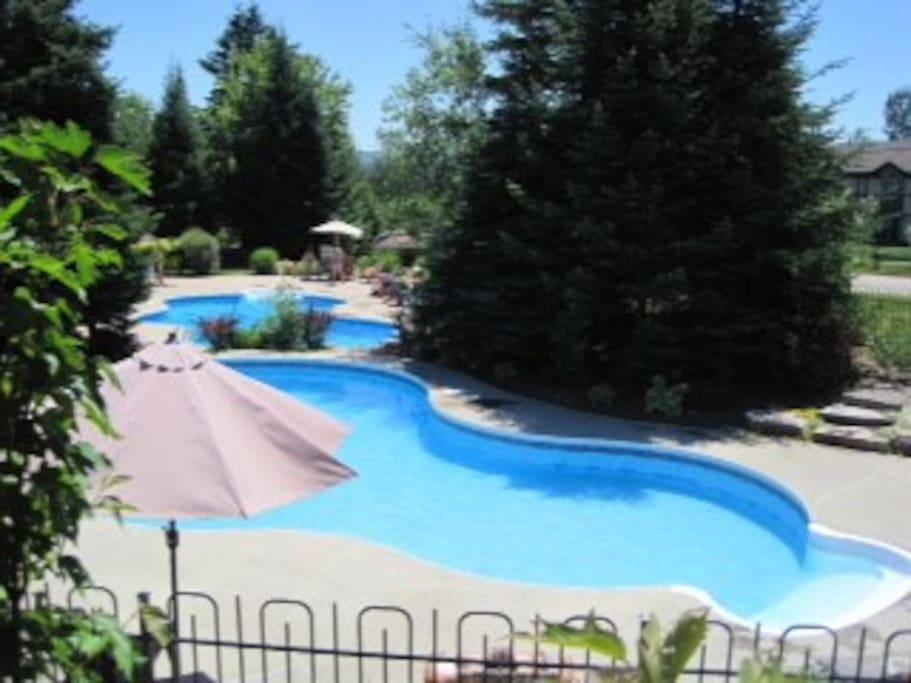 2 heated resort pools
