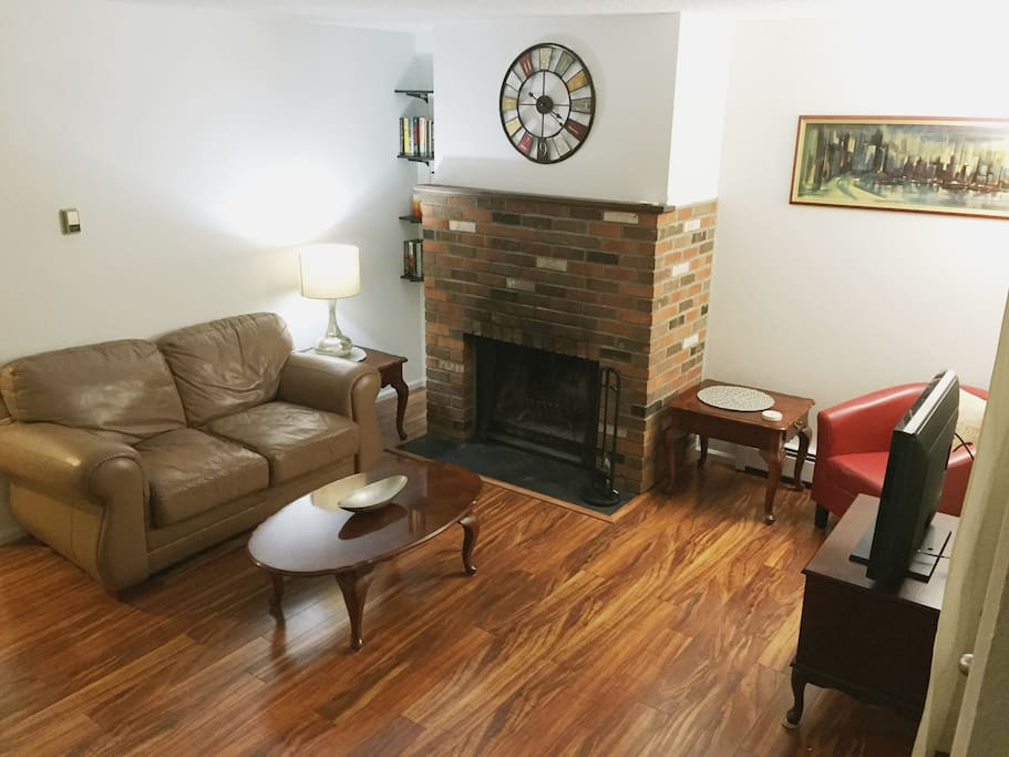 Living space with woodburning fireplace