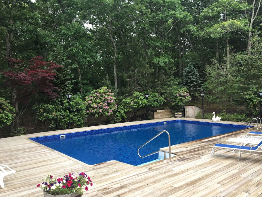 Newly renovated pool area off the deck with spacious seating, BBQ and dining area