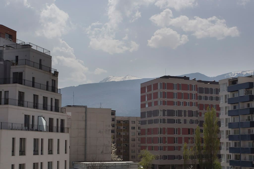 View from the windows - on the background- Vitosha mountain, Cherni Vrah Peak