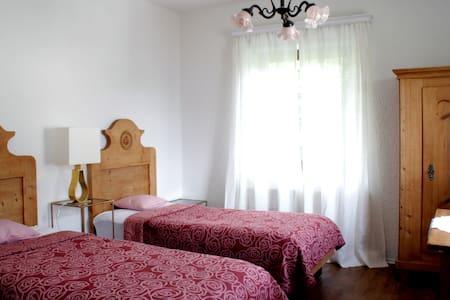 Zimmer mit 2 Einzelbetten in einem Haus, das als Frühstückspension (Bed & Breakfast) betrieben wird. Insgesamt verfügt das Haus über 5 Zimmer. Das Zimmer hat ein kleines Tageslicht-Bad mit Dusche und WC. Es ist mit schönen typisch österreichischen Bauernmöbel möbliert.