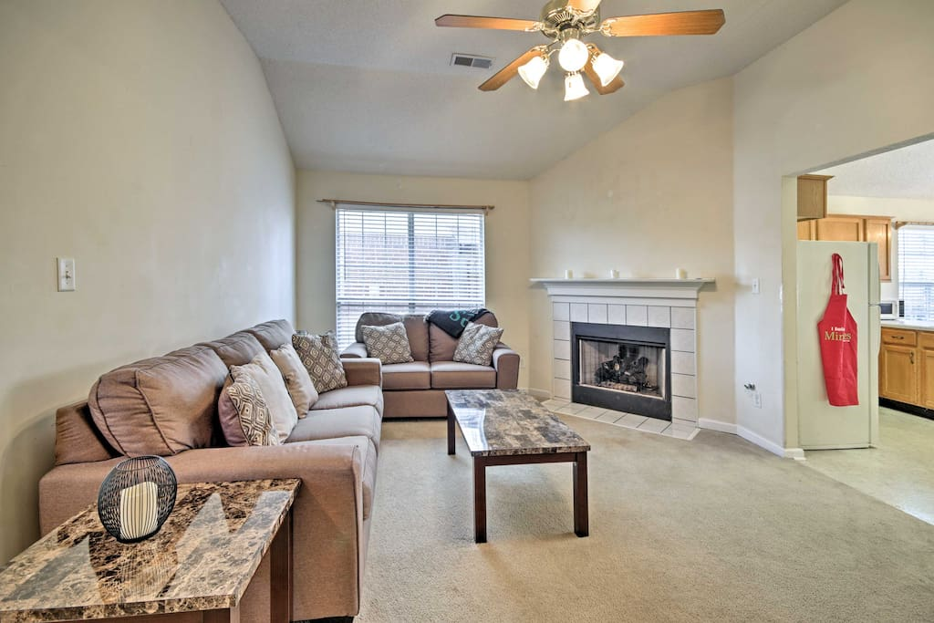 Feel the warmth of the gas fireplace in the living room.
