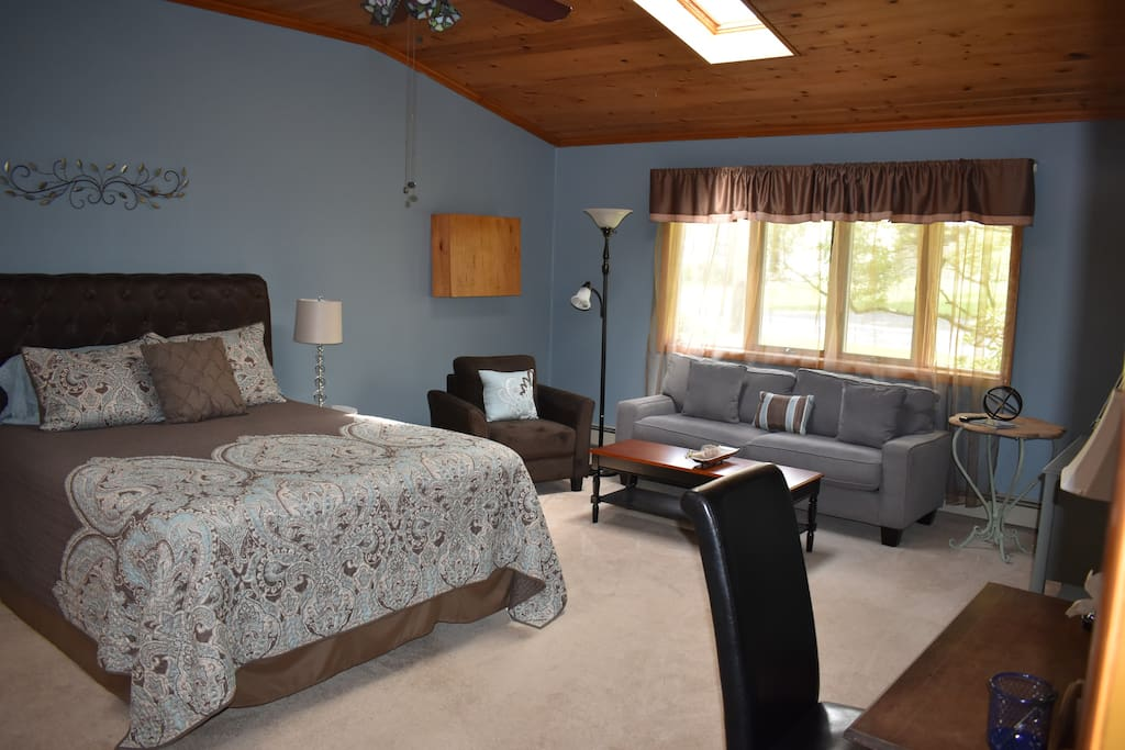 Huge Bedroom- Queen size bed, skylights, double closets, separate comfortable seating area, smart TV, work area.