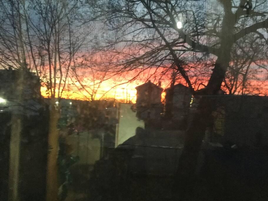 Beautiful sunrise on balcony