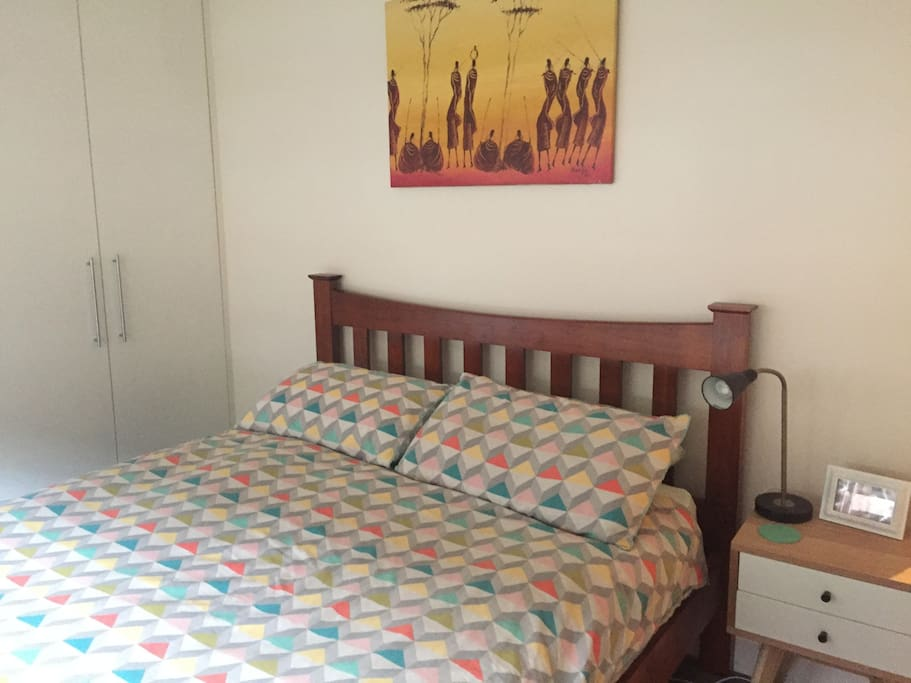 Bedroom, comes with queen sized bed, bedside table, full length mirror, chest of drawers and plenty of hanging space