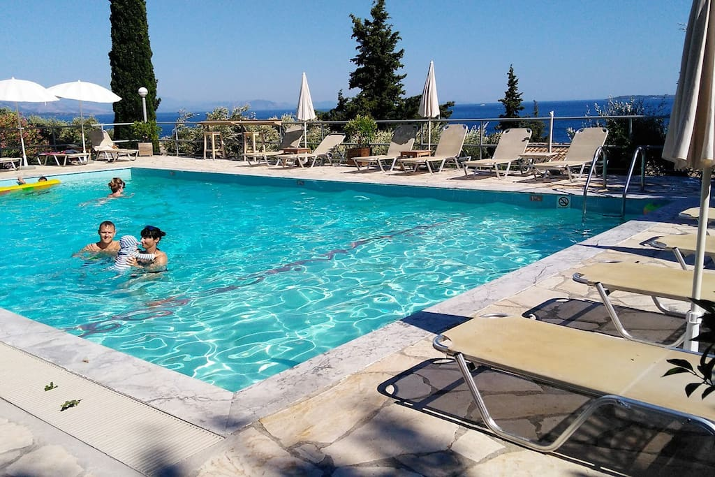 Swimming pool at Captain's apartments opposite.  use of pool and sunbeds during 9-7.30pm  if you purchase a drink/snack