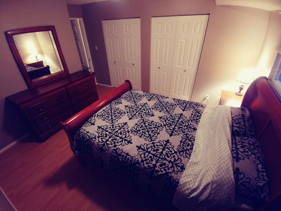 Master Bdrm: Queen Sleigh Bed, Full Dresser and Mirror, 10 feet of closets, double nightstands, & reading lamp.