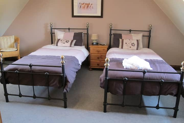Large twin room in family home on edge of town