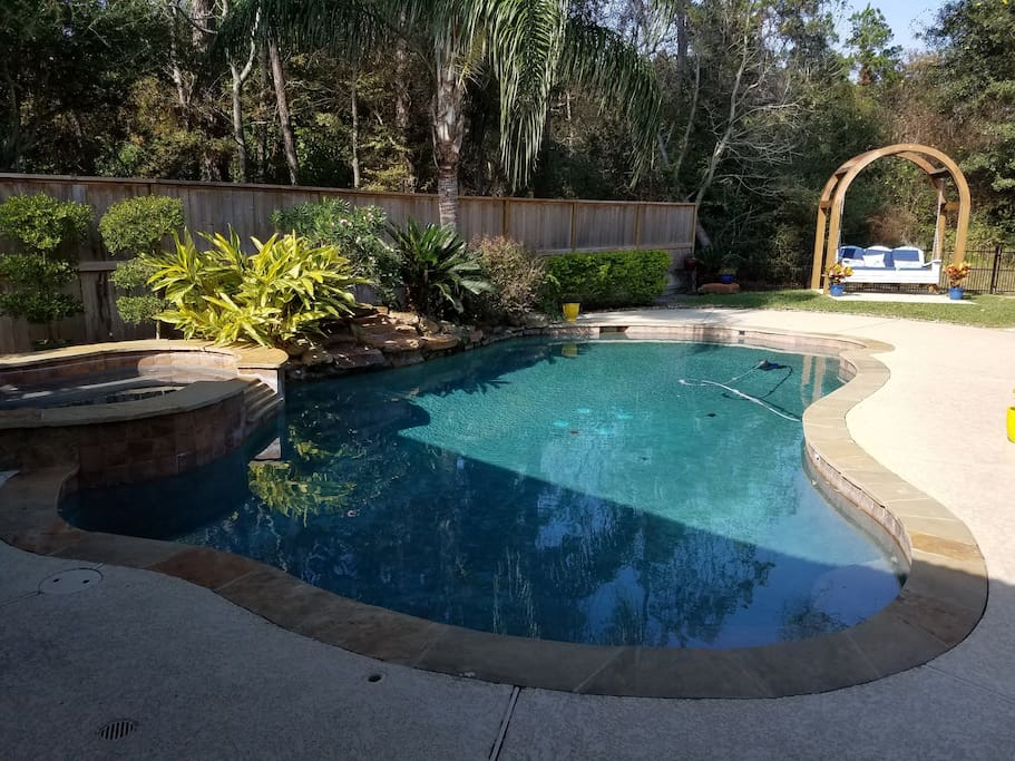 Heated Spa and Pool with custom built Adirondack swing