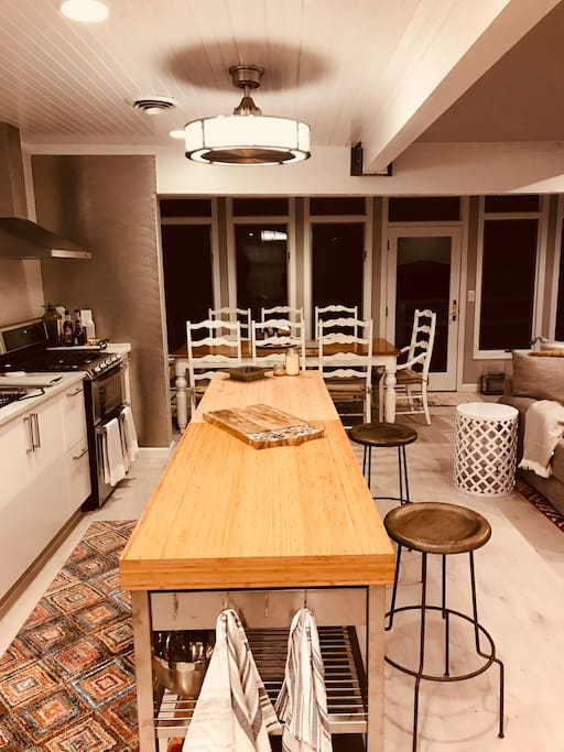 Newly renovated open kitchen floor plan. Fully equipped with cookware