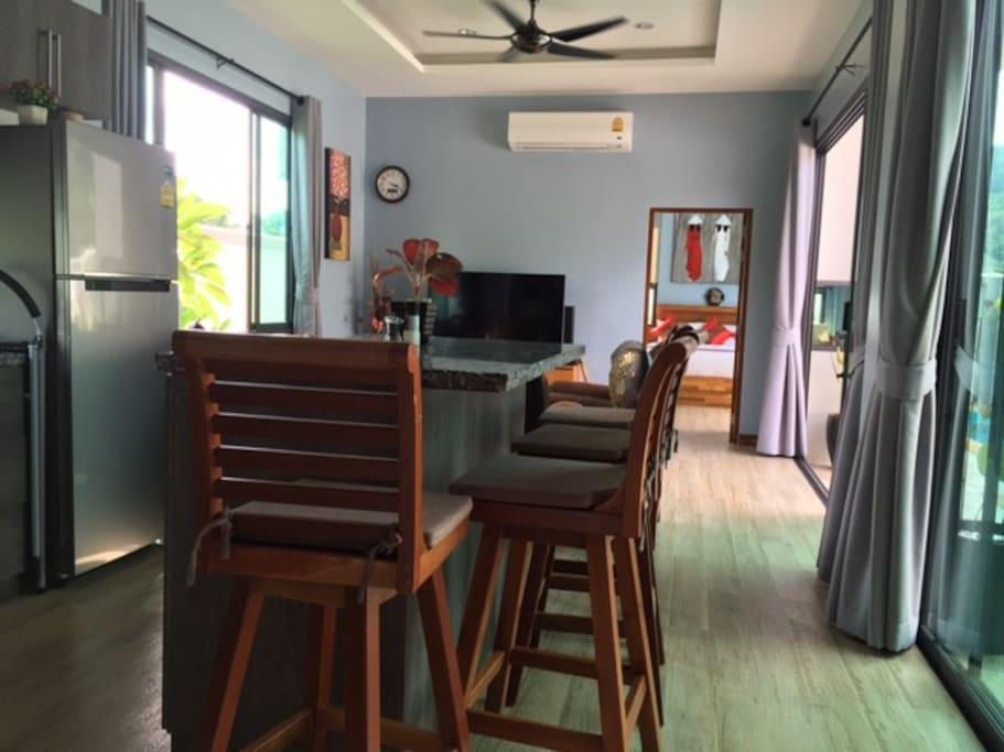 Kitchen Island, Living Room