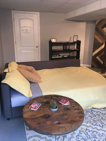 We can prepare the sleeper sofa ahead of your arrival, or the sheets and blankets are conveniently stored inside the couch if you prefer to do it yourself.