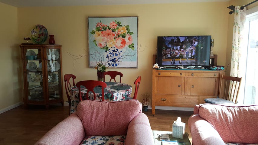 Dining room with smart tv. Local tv and music channels.