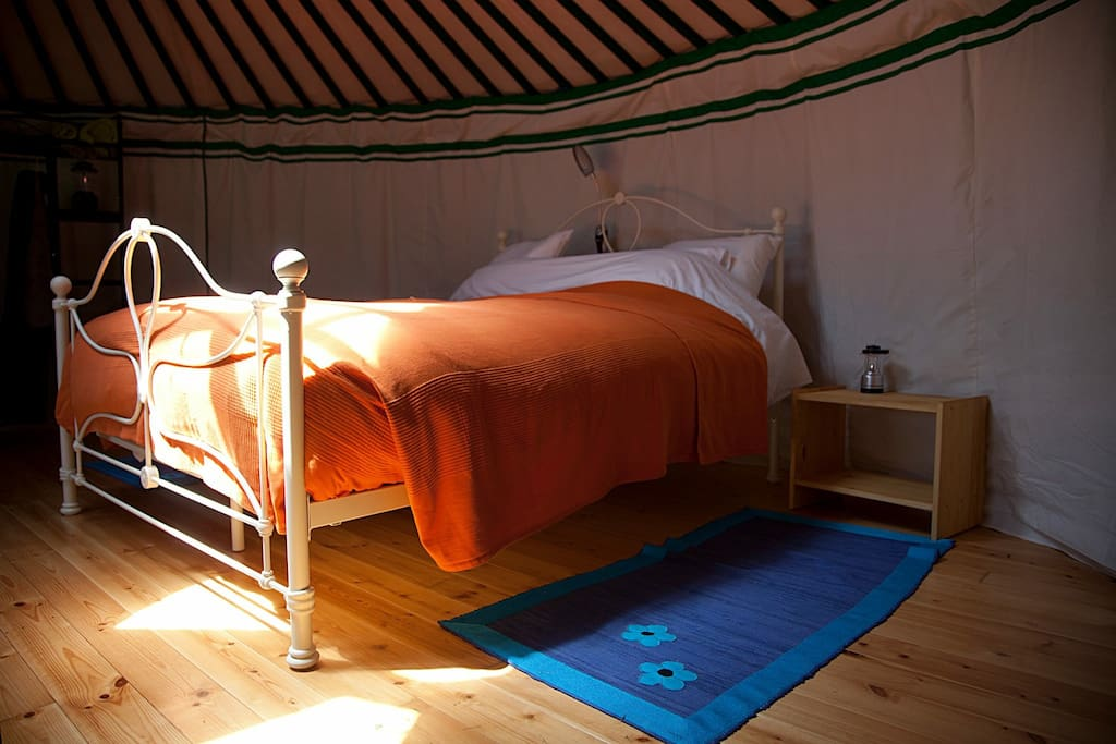 Green yurt interior