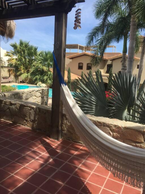 Ocean view hammock outside the bedroom suite.
