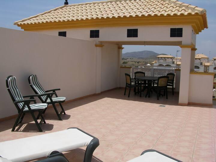 Penthouse apartment, sea views, balcony, pool