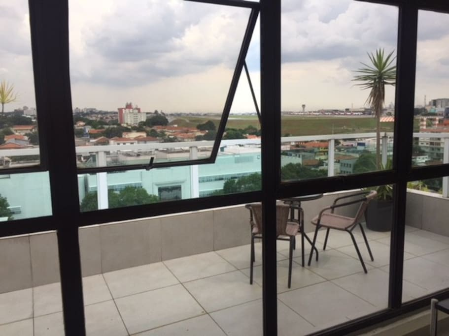 3rd floor balcony overlooking the airport.