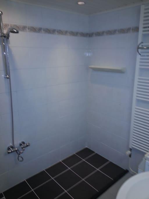 Ruime douche met apart toilet