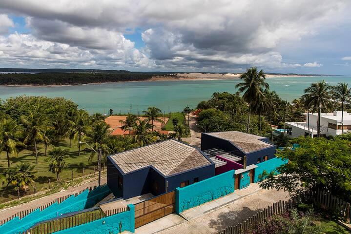 casa en Tibau do sul con vista para el mar y  lagoa de guarairas