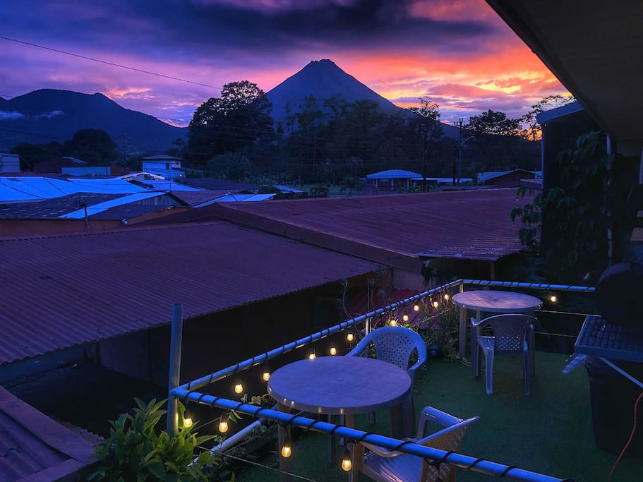 Backside terrace, literally the best view point to see the colorful sunsets and the volcano
