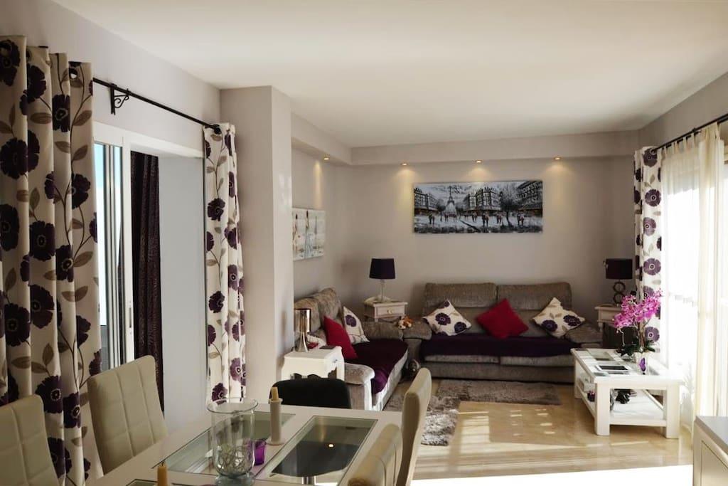 Nice living room furnitured with 2 big comfortable sofas.