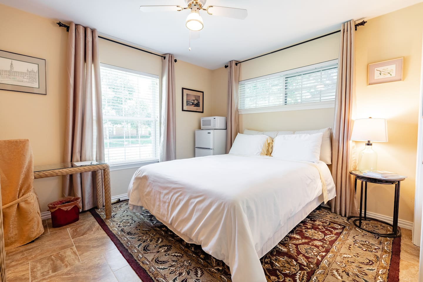Private bedroom with queen bed.