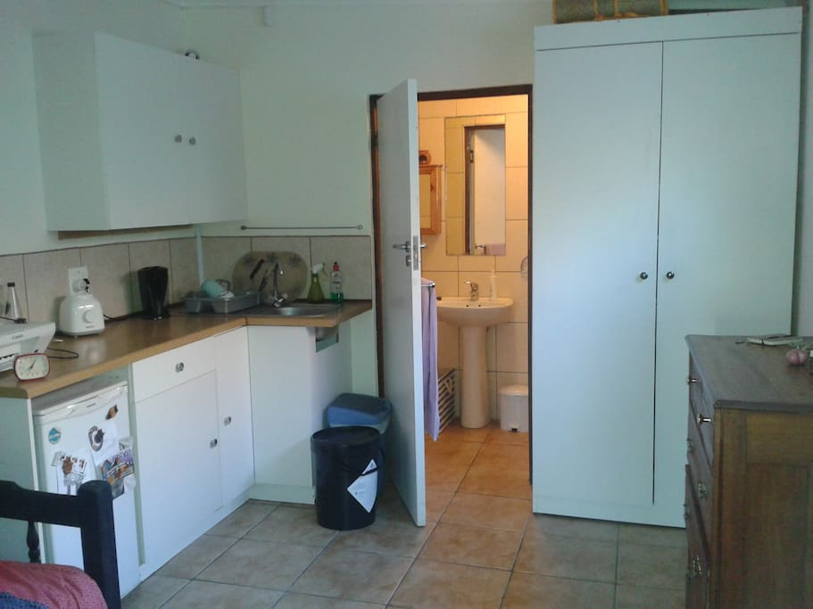 Kitchenette with view into bathroom
