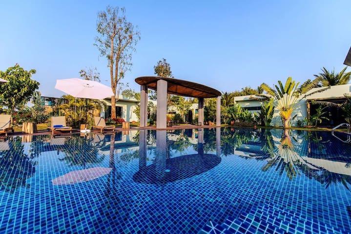 corner spa resort villa with huge pool