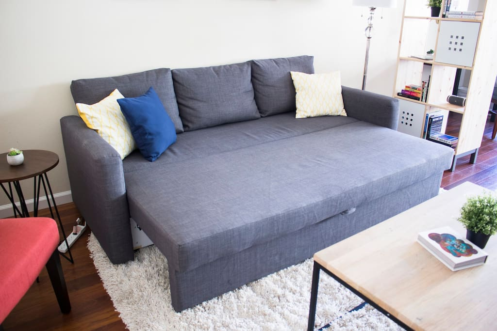 The sofa can be transformed into a queen sized bed within seconds, allowing for 1-2 people to sleep comfortably.