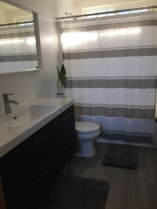 The shared bathroom that is close to  your room, and has ample space.
