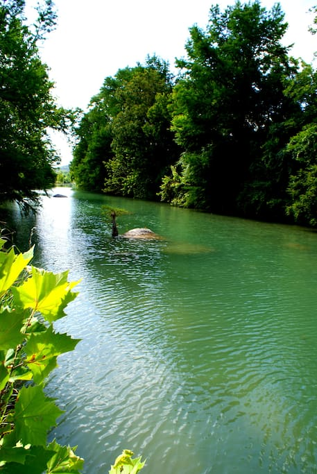 The iconic blue water of the Blanco River