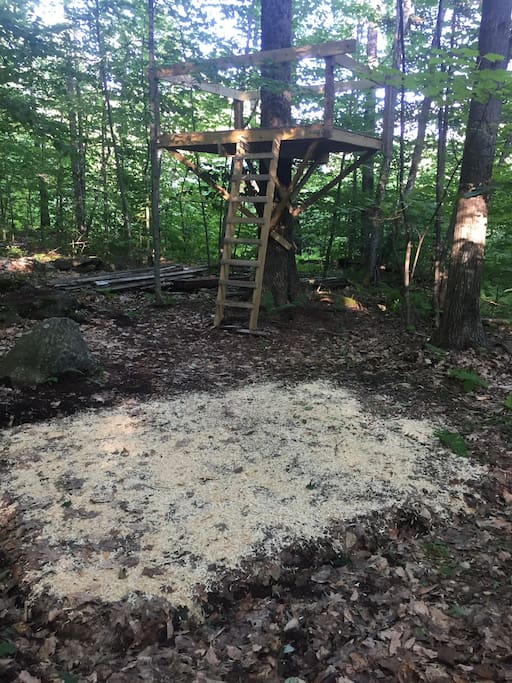 The tent site is next to our treehouse. It's still under construction so use at your own risk.