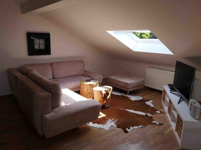 Loft-Dachgeschoss-Wohnung im Grünen/in der Stadt