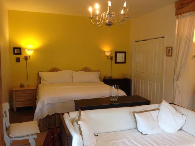 View of bed from garden doors.