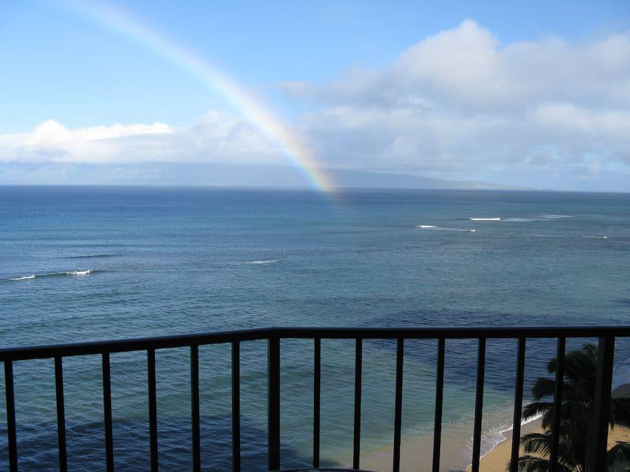 View of ocean and Molokai from the lanai of condo 1009